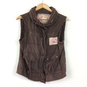 Free People Cargo Floral Patch Zipper Cotton Vest